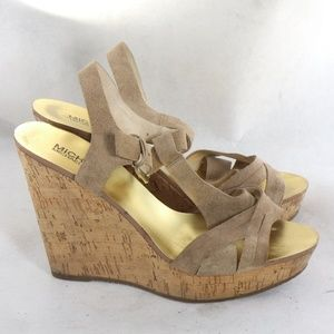MICHAEL KORS Suede Cross Strap Open Toe Wedges